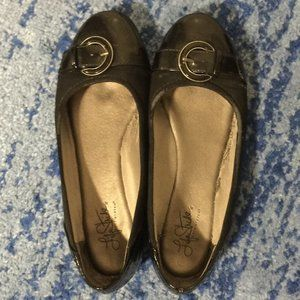 Lifestride Black Buckle Flats US 8